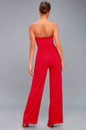 Edith Red Strapless Jumpsuit 3