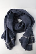 Season of Love Washed Navy Blue Scarf 1