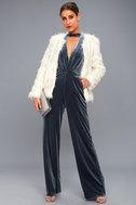Bia Slate Blue Velvet Sleeveless Jumpsuit 1