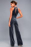 Bia Slate Blue Velvet Sleeveless Jumpsuit 3