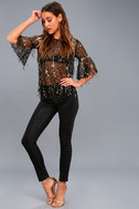 Fremont Street Sheer Black and Gold Sequin Top 2