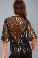 Fremont Street Sheer Black and Gold Sequin Top 3