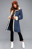 Cybill Faux Fur Trim Medium Wash Denim Coat 1