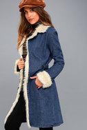 Cybill Faux Fur Trim Medium Wash Denim Coat 2