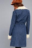 Cybill Faux Fur Trim Medium Wash Denim Coat 3