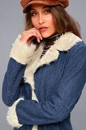 Cybill Faux Fur Trim Medium Wash Denim Coat 4