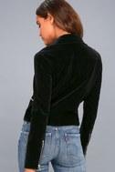 Style Icon Black Velvet Moto Jacket 3