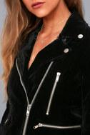Style Icon Black Velvet Moto Jacket 4