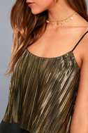 Midnight Kiss Black and Gold Pleated Crop Top 5