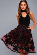 Marilyn Burgundy Floral Embroidered Midi Skirt 3