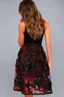 Marilyn Burgundy Floral Embroidered Midi Skirt 4