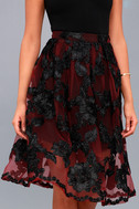 Marilyn Burgundy Floral Embroidered Midi Skirt 1