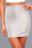 Leading Light Mauve and Silver Mini Skirt 1