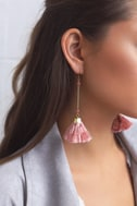 Charismatic Way Gold and Mauve Tassel Earrings 1