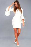 Gimme Some Flair White Flounce Sleeve Bodycon Dress 2