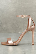 Lacey Rose Gold Leather Ankle Strap Heels 1