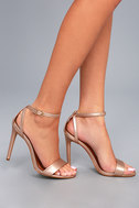 Lacey Rose Gold Leather Ankle Strap Heels 6