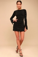 Smyth Bronze and Black Sequin Long Sleeve Mini Dress 1