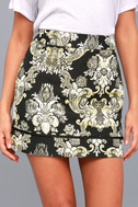 Dione Gold and Black Brocade Mini Skirt 4