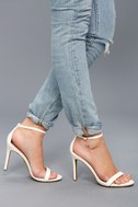 Loveliness White Ankle Strap Heels 2