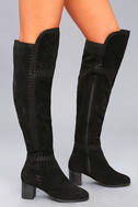 Moon Black Suede Leather Embroidered Over the Knee Boot 3