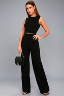 Refine and Poise Black Backless Wide-Leg Jumpsuit 5