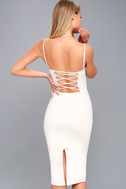Captivated Love White Lace-Up Bodycon Dress 3