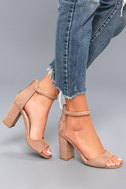 Sidecar Cutie Taupe Suede Ankle Strap Heels 5