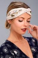 Nom De Bloom Cream Embroidered Headband 1