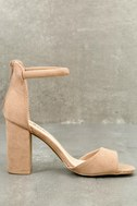 Sidecar Cutie Taupe Suede Ankle Strap Heels 6