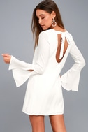 Be the One White Long Sleeve Backless Shift Dress 6