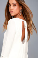 Be the One White Long Sleeve Backless Shift Dress 8