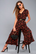 Jack by BB Dakota Gigli Black and Red Floral Print Jumpsuit 5