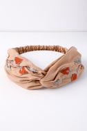Nom De Bloom Light Brown Embroidered Headband 2