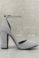 Laura Black and White Houndstooth Ankle Strap Heels 1