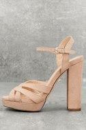 Liza Camel Suede Platform Heels 1