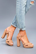 Liza Camel Suede Platform Heels 6