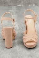 Liza Camel Suede Platform Heels 4