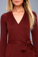 Long Sleeve Burgundy Dress - Wrap Dress - Wrap Sweater Dress