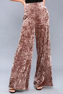 Corrinne Taupe Velvet Wide-Leg Pants 2