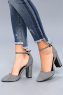 Laura Black and White Houndstooth Ankle Strap Heels 2