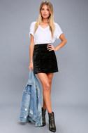 Urban Allure Black Crushed Velvet Mini Skirt 2