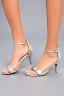 Lilith Silver Ankle Strap Heels 1