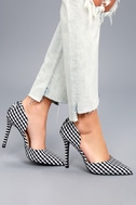 Alessa Black and White Gingham D'Orsay Pumps 1