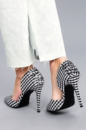 Alessa Black and White Gingham D'Orsay Pumps 2