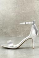 Lilith Silver Ankle Strap Heels 2