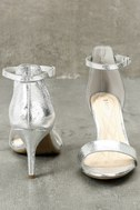 Lilith Silver Ankle Strap Heels 5