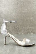 Lilith Silver Ankle Strap Heels 3