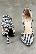 Alessa Black and White Gingham D'Orsay Pumps 5
