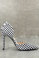 Alessa Black and White Gingham D'Orsay Pumps 4